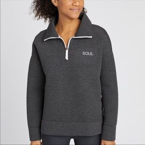 SOULCYCLE SPACER SNAP FUNNEL NECK PULLOVER